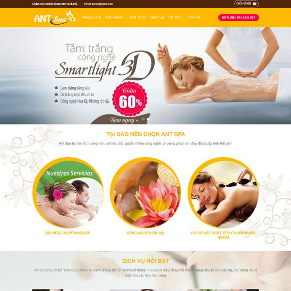 Giao diện website ANT Spa